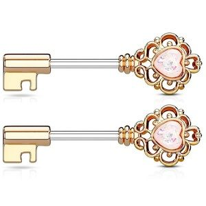 14 gauge rose gold & opal key body piercings